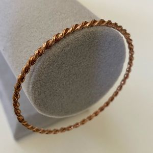 Silver handmade 2.5 inches twisted rope bangle